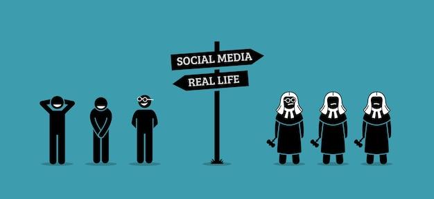 Der unterschied zwischen menschlichem verhalten im realen leben und in sozialen medien.