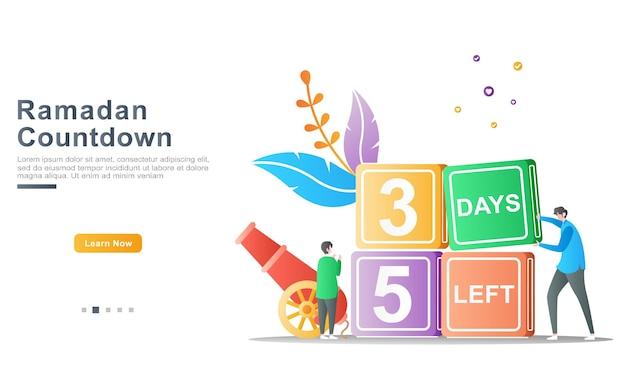 Der vater lädt sein kind ein, das puzzle-konzept zu arrangieren, um das kommen des ramadan zu berechnen