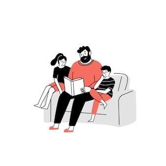 Der vater liest den kindern ein buch vor lese ein buch familienzeit vorlese für die kinder