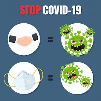 Der vektor stoppt die übertragung des koronavirus, indem er das händchenhalten stoppt und eine maske trägt.