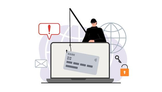 Der verbrecher hinter einem laptop, computer. versteckter bergbau. phishing-benachrichtigungen. konto-hacking. ein betrüger stiehlt eine bankkarte. netzwerksicherheit. internet-phishing, gehackter benutzername und passwort.