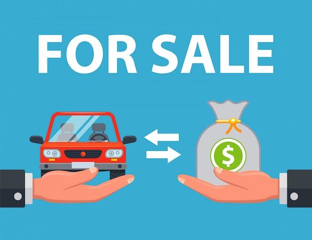 Der verkäufer verkauft das auto für geld an den käufer. flache illustration.