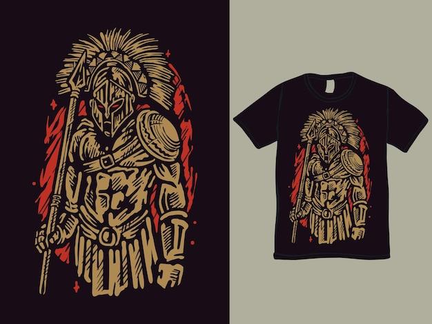 Der vintage spartanische krieger, der ein speer-t-shirt-design hält