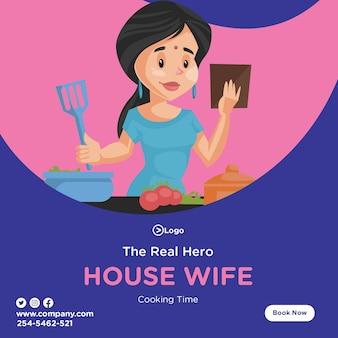 Der wahre heldenentwurf mit hausfrau, die essen in der küche kocht
