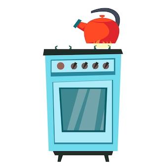 Der wasserkocher wird auf dem herd erhitzt. vektorillustration eines flachen stils