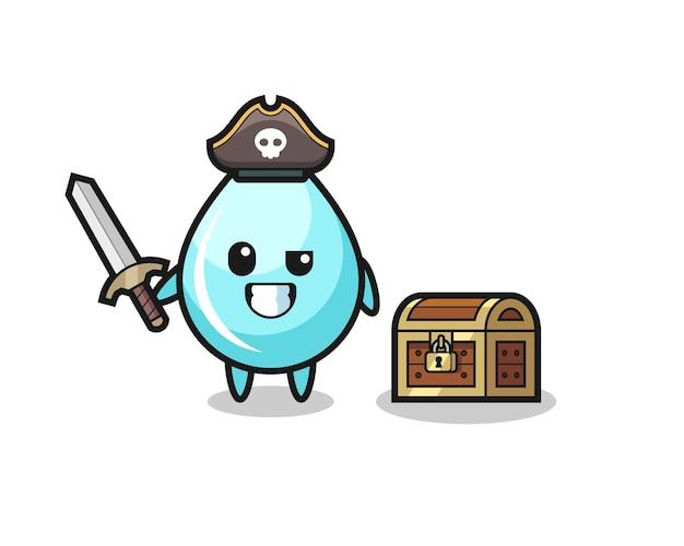 Der wassertropfen-piraten-charakter, der ein schwert neben einer schatzkiste hält, süßes design für t-shirt, aufkleber, logo-element