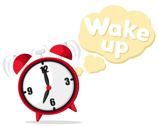 Der wecker klingelt, springt und sagt wach auf.
