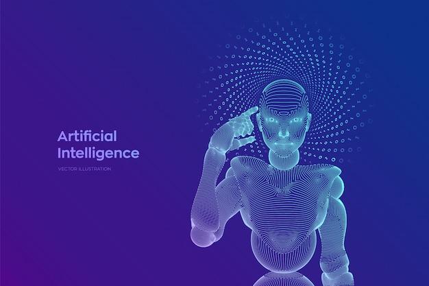 Der weibliche cyborg oder roboter eines abstrakten drahtgitters hält einen finger in der nähe des kopfes und denkt oder berechnet mit ihrer künstlichen intelligenz.