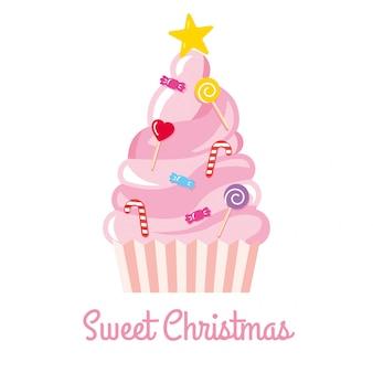 Der weihnachtsbaum, der von den bonbons und von den süßigkeiten gemacht wird, vector illustration