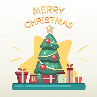 Der weihnachtsbaum mit einem stapel der geschenkbox und des textes der frohen weihnachten