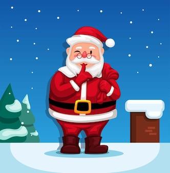 Der weihnachtsmann auf dem schornstein auf dem schneedach möchte den kindern eine geschenkbox auf weihnachtsvektor liefern