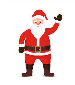 Der weihnachtsmann begrüßt mit hallo