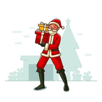 Der weihnachtsmann bringt die geschenke