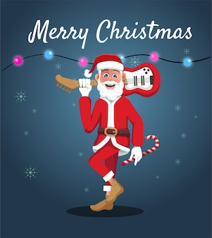 Der weihnachtsmann-cartoon trägt eine gitarre, um weihnachten zu feiern