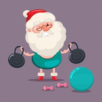 Der weihnachtsmann, der eignung tut, übt mit kugel, gewicht und dummköpfen aus. vektor-weihnachtsnette zeichentrickfilm-figur lokalisiert.