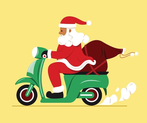 Der weihnachtsmann fährt motorrad mit einer tüte geschenk.
