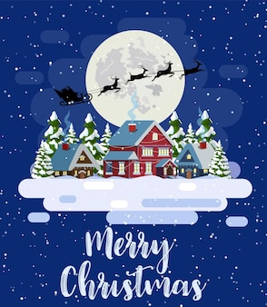 Der weihnachtsmann fliegt im schnee über das haus.