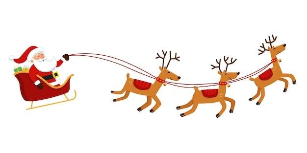 Der weihnachtsmann fliegt mit seinem schlitten