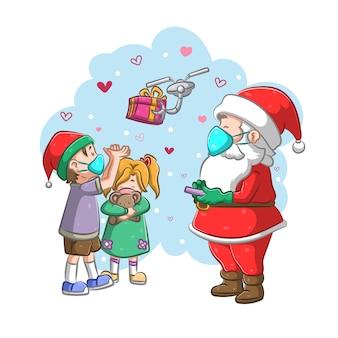 Der weihnachtsmann gibt den kindern das geschenk mit der drohne