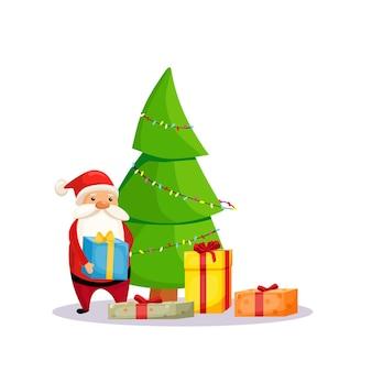 Der weihnachtsmann gibt geschenke, die neben einem geschmückten weihnachtsbaum stehen. vektor-illustration. weihnachten