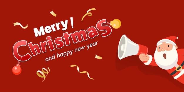 Der weihnachtsmann hält ein megaphon in der hand und kündigt frohe weihnachten und ein gutes neues jahr an.