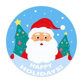 Der weihnachtsmann hält ein schild mit der aufschrift frohe feiertage