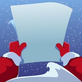 Der weihnachtsmann hält in seinen händen einen brief auf blauem hintergrund. karikaturillustration