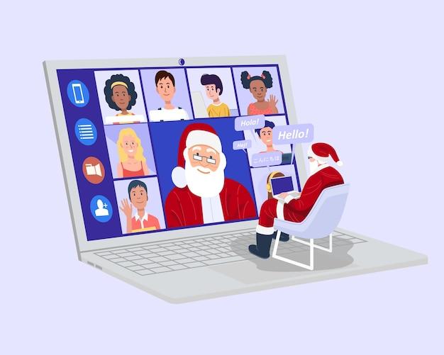 Der weihnachtsmann hat ein virtuelles treffen mit kindern zu hause.