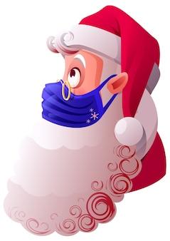 Der weihnachtsmann in blauer medizinischer maske ist vor viren geschützt. isoliert auf weißer karikaturillustration