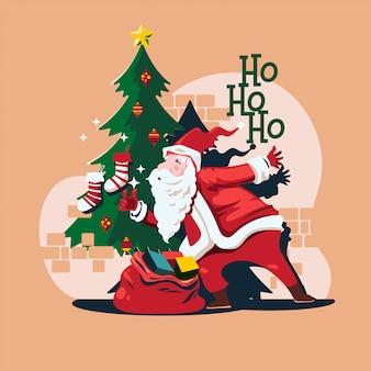 Der weihnachtsmann ist gekommen, um ihr geschenk zu liefern
