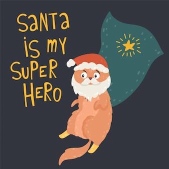Der weihnachtsmann ist mein superheld. nette lustige katze im kostüm santa claus mit rotem hut und bart.