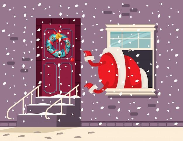 Der weihnachtsmann klettert aus dem fenster. vektorkarikatur weihnachtsabbildung.