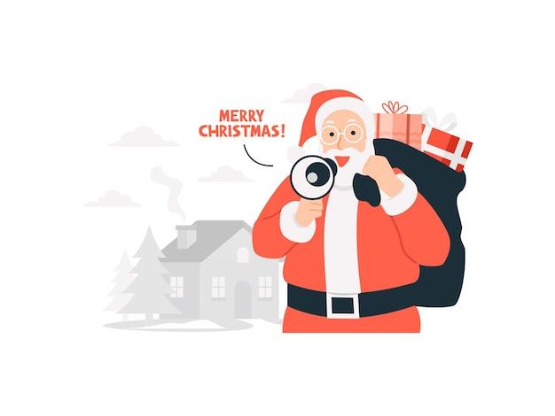 Der weihnachtsmann kommt zur stadt mit geschenkboxen-weihnachtsgeschenk-konzeptillustration