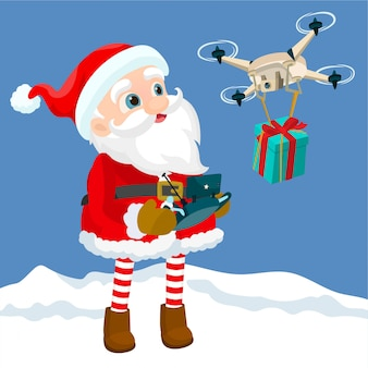 Der weihnachtsmann kontrolliert die drohne