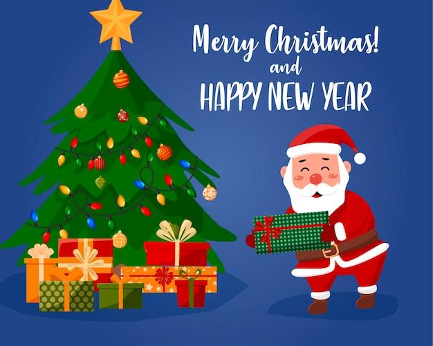 Der weihnachtsmann legt ein geschenk unter den baum. cartoon-illustration.