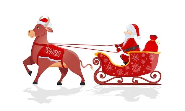 Der weihnachtsmann mit der roten tasche reitet auf einem großen bullenschlitten