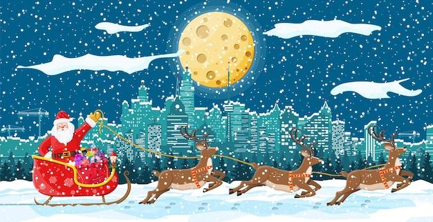 Der weihnachtsmann reitet auf einem rentierschlitten