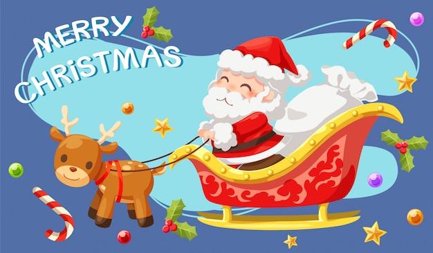 Der weihnachtsmann reitet auf rikscha