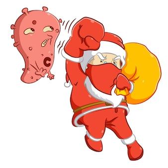 Der weihnachtsmann schlägt mit der roten maske ein großes koronavirus