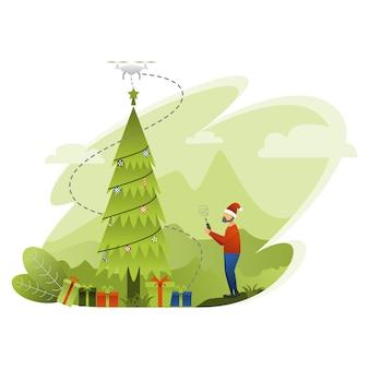 Der weihnachtsmann setzte einen stern am ende des weihnachtsbaums mit drohne