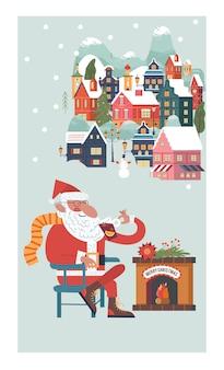 Der weihnachtsmann sitzt am kamin und trinkt glühwein neujahr und weihnachten