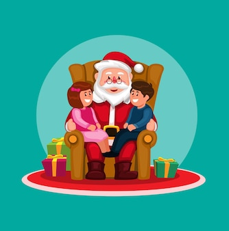 Der weihnachtsmann sitzt auf dem sofa mit kindern, die geschichten erzählen und geschenkbox im weihnachtskarikaturvektor geben