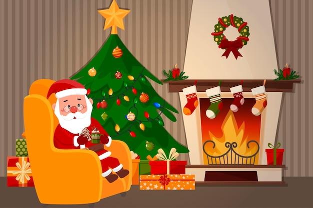 Der weihnachtsmann sitzt auf einem stuhl neben dem kamin und trinkt ein neujahrsgetränk.