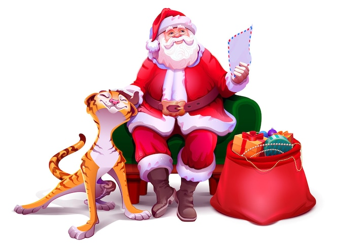 Der weihnachtsmann sitzt im stuhl, liest brief und streichelt tiger tigersymbol