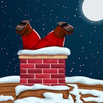 Der weihnachtsmann steckt im schornstein