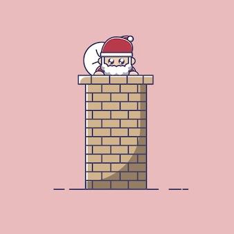 Der weihnachtsmann steht auf dem schornstein