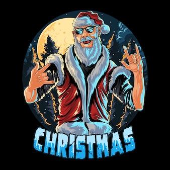 Der weihnachtsmann trägt auf einer weihnachtsfeier eine brille und eine weste Premium Vektoren