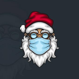 Der weihnachtsmann trägt eine gesichtsmaske, um die ausbreitung des covid 19 coronavirus zu verhindern
