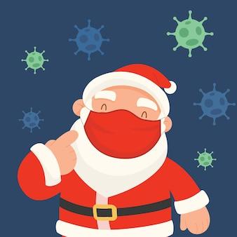 Der weihnachtsmann trägt eine rote maske zum schutz vor keimen.