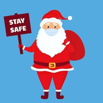 Der weihnachtsmann trägt eine schützende gesichtsmaske. vektor-illustration. zeichentrickfigur.
